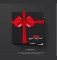 black gift box bows and ribbons happy vector image vector image
