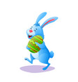 blue cartoon easter rabbit bunny with paschal egg vector image vector image