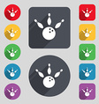 bowling icon sign A set of 12 colored buttons and vector image vector image