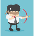 businessman being blindfolded and arrow vector image vector image