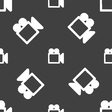 camcorder icon sign Seamless pattern on a gray vector image vector image