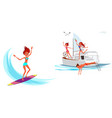 cartoon set of girl surfing and smiling vector image vector image