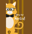 cat cute animal cartoon invitation card vector image