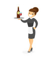 caucasian white waitress holding tray with wine vector image vector image