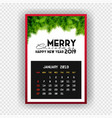 christmas happy new year 2019 calendar january vector image vector image