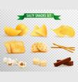crispy snacks transparent set vector image
