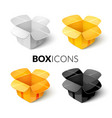 empty cardboard packaging open box icon in vector image