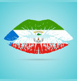equatorial guinea flag lipstick on the lips vector image