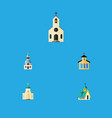 flat icon christian set of religious architecture vector image vector image