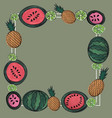 frame patternwatercolor drawing fruits vector image vector image
