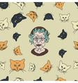 Grandmas cats pattern vector image vector image