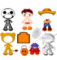 halloween paper doll boy with costumes vector image vector image