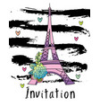 hand drawn invitation card eiffel tower vector image