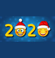 happy new year 2020 with funny emoticons in santa vector image vector image