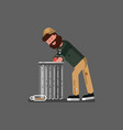 homeless digs in the garbage vector image