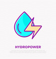hydropower water drop with energy symbol vector image