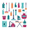 icons of accessories and means for cleaning and vector image