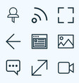 interface icons line style set with screenshot vector image vector image