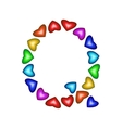 Letter Q made of multicolored hearts vector image vector image