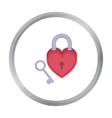 Lock and key icon in cartoon style isolated on vector image