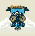 logo mountain bike the emblem of the bicycle and vector image vector image