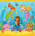 mermaids play under water vector image vector image
