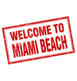 Miami Beach red square grunge welcome isolated vector image vector image