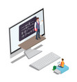 online learning concept with teacher pupil vector image