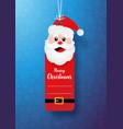paper art christmas santa claus tag banner and vector image vector image