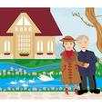 retired couple walking in the garden vector image