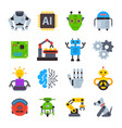 robot icons set logo robotic machine vector image vector image