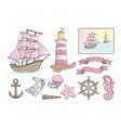 sea clip arts pink sea set vector image