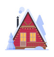 snowy suburban house rural red winter cottage vector image vector image