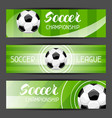 soccer stylized banners with ball football symbol vector image vector image