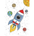 space rocket flying in space with planets vector image