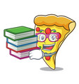 student with book pizza slice mascot cartoon vector image vector image