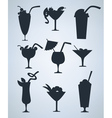 summer drinks silhouettes vector image vector image