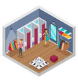 trying shop isometric interior vector image vector image