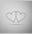 two linked hearts icon isolated on grey background vector image