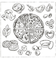 Whole and sliced italian pizza vector image