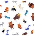 wild north america animals seamless pattern in vector image