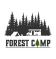 wilderness explorer logo with camp car and pine vector image