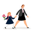 woman and girl going to school vector image vector image