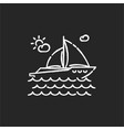 yachting chalk white icon on black background vector image