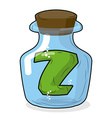 Z in laboratory bottle Letter in magical vessel vector image vector image