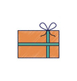 christmas gift wrapped ribbon and bow decoration vector image