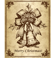 Vintage christmas card with bells vector image