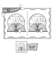 find 9 differences game black reading book vector image