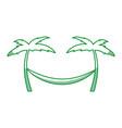 tree palm beach with hammock vector image