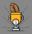 american football ball inside prize cup and medal vector image vector image
